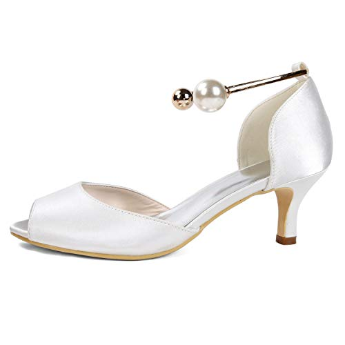 Tacones 43 Zapatos Tamaño Satin Silver 6cm L Boda 35 Heel Peep Altos Bridesmaid Buckle De yc Mujer Toe Evening pwzq874