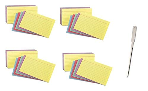 Oxford Index Cards, Assorted Colors, 5 x 8, Ruled, 4 Pack of 100 Cards, 400 Cards Total (35810) by Oxford