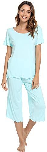 (LazyCozy Women's Short Sleeve Capri Pants Pajamas Set, Aqua, X Large)