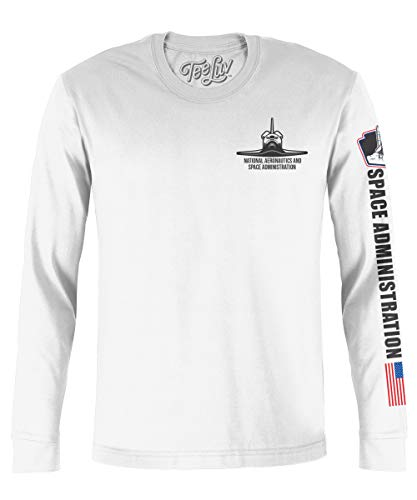 - Tee Luv NASA Shuttle Graphic T-Shirt - Long Sleeve NASA Worm Logo Shirt (XX-Large) White