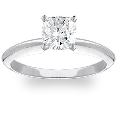Moissanite Tiffany Solitaire - Exquisite! Women's 14k White-gold 2.07 ct Cushion Brilliant Moissanite Solitaire Engagement Ring - 7.5mm Size 10.5