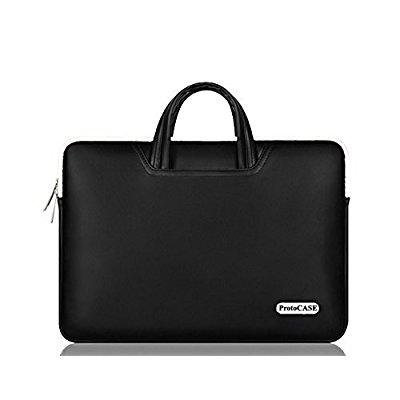 ProtoCASE - 13.3-Inch Laptop and Tablet Bag Computer Carrying Case Cover Sleeve with Side Pockets for MacBook Pro, Air, Ultrabook, iPad Pro Sleeve (PU Leather Black)