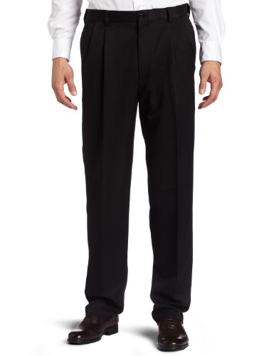 Haggar Men's Cool 18 Heather Solid Pant - Regular - 42W x 30L - Black (Pleat Pant Two)