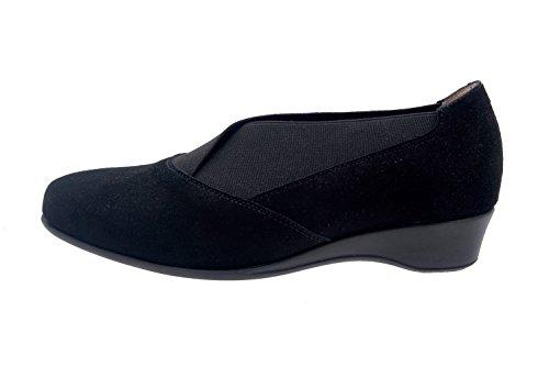 Calzado mujer confort de piel Piesanto 5731 zapato casual cómodo ancho Ante/Negro