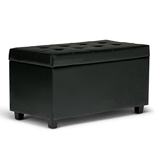 Simpli Home AY-S-38-BL Cosmopolitan 34 inch Wide Contemporary  Storage Ottoman in Midnight Black Faux Leather