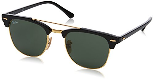 Ray-Ban RB3816 Clubmaster Double Bridge Square Sunglasses, Black/Green, 51 mm