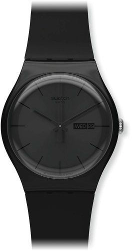 Swatch Unisex-Armbanduhr Black Rebel Analog Quarz Kautschuk SUOB702