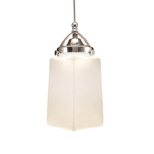 WAC Lighting MP-LED498-WT/CH Huntington Early Electric Collection 1-Light LED MonoPoint Pendant with White Mouth Blown Glass Shade and Chrome Finished Cord ()