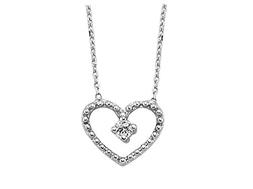 Pendentif Mon Cœur Diamants et Solitaire-Femme- or Blanc 217P0019
