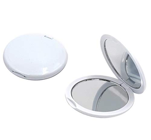 FASHIONCRAFT Magnifying Compact Mirror, Handheld Travel Mirror with 5X Magnification and 1x True View, Perfect for Purse, Pocket and Travel, White (24 Pack)