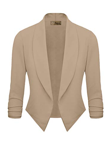 (Womens Casual Work Office Open Front Blazer JK1133X Beige 1X)
