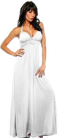 White Maxi Summer Halter Beach Party Long Sun Dress, Small