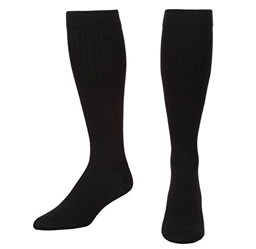 Microfiber and Cotton Compression Socks for Men with - Dress Sock Look and Feel - Graduated Support Socks 15-20 mmHg - 1 Pair - Made in USA - Absolute Support - SKU: A1013 (Black, XL)