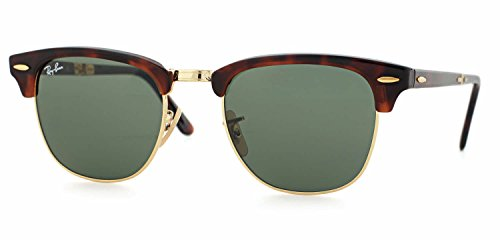Ray-Ban RB2176 CLUBMASTER FOLDING Red Havana Frame/Crystal Green Lens 990, - Folding Ban Clubmaster Ray
