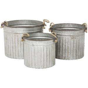 Galvanized Planters Set of 3 by Retail Resource