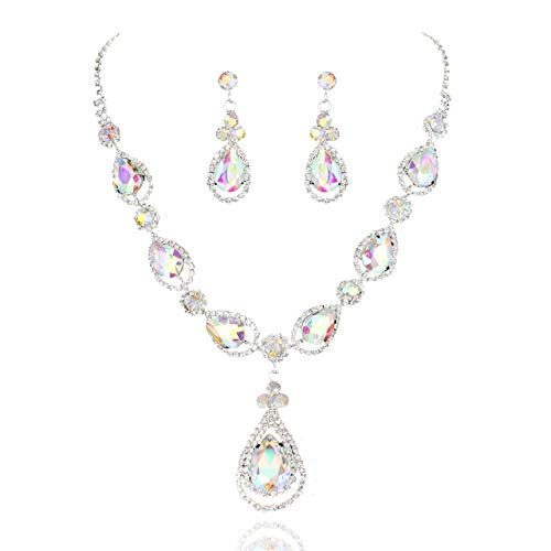 - SP Sophia Collection Women's Elegant Crystal Teardrop Statement Necklace Dangle Earring Set in Iridescent