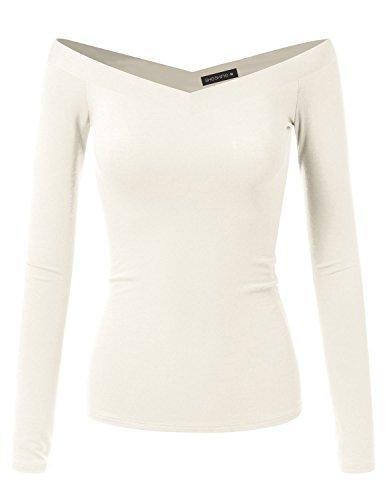 Stretch V-neck Blouse - Sheshine Women Long Sleeve Slim Fit Stretch Crop Top Off-Shoulder V Neck T-Shirt
