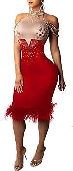 Aleng Womens Sexy Off Shoulder Patchwork Sleeveless Midi Dress