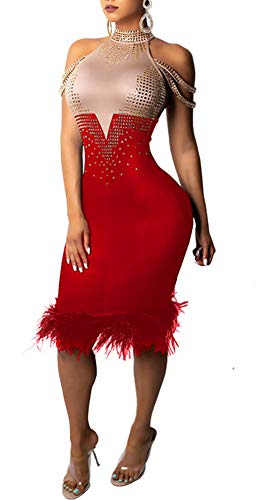 Aleng Womens Sexy Sleeveless Rhinestone Halter Neck Color Block Feather Hem Bodycon Party Clubwear Midi Hip Dress Red