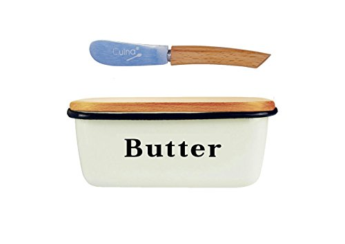 Large Butter Dish White Cast Iron & Beech Wood Lid + Butter Knife (Large Image)