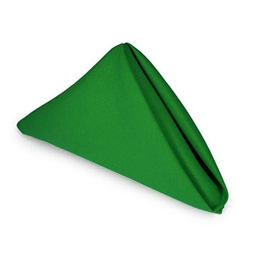 Polyester Green Kelly - TableLinensforLess Hemmed Edge, Restaurant Size 20 Inch Square Spun-Polyester Dinner Napkins Set of 12 (Kelly)