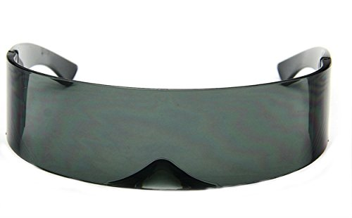 WebDeals - Futuristic Wrap Around Monoblock Cyclops Shield Sunglasses (Solid ()