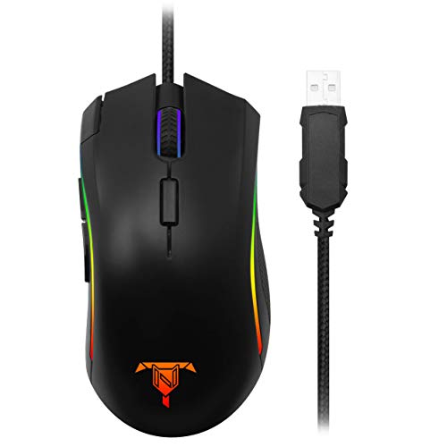 Tilted Nation Wired Gaming Mouse with 16.8 Million Backlit RGB Lighting, 7 Programmable Buttons, 5 Adjustable DPI Levels…