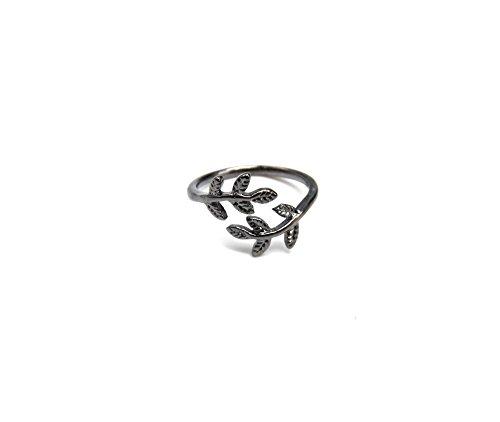 bg167e–Anillo Falange Bout des doigts–Hojas de laurel Metal gris–Mode Fantasía