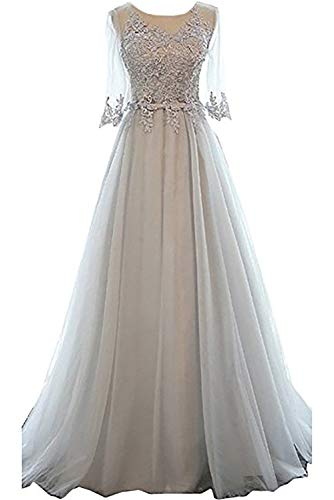 Long Formal Party Dress, Jewel Floor-Length Tulle Evening Gown for Women with Half Sleeves-Silver-4