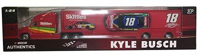 Hauler Truck Rig - NASCAR Kyle Busch #18 Skittles Racing Hauler Tractor Trailer Semi Transporter Truck Rig 1/64 Scale Authentics Metal Cab, Plastic Trailer