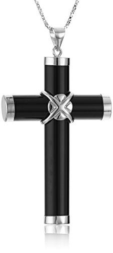 Onyx Cross - Onyx Cross Sterling Silver Pendant Necklace, 18