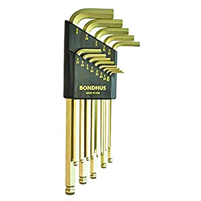 Bondhus 37937 Set of 13 Balldriver L-wrenches with GoldGuard Finish, Long Length, sizes .050-3/8-Inch - Hex Keys - .com
