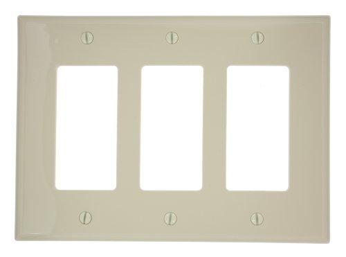 Leviton Gang Decora Nylon 3 (Leviton PJ263-I 3-Gang Decora/GFCI Device Wallplate, Midway Size, Ivory)