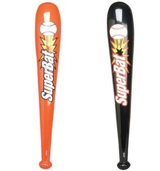 INFLATABLE BASEBALL BATS - 1DZ - Black & Red 42'' Super Bats - Baseball Party Theme Favor TOY - Team Coach Prize - Pool Beach outdoor Water Fun