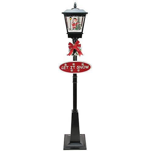 "Northlight 70.75"" Lighted Black Musical Santa Vertical Snowing Christmas Street Lamp"
