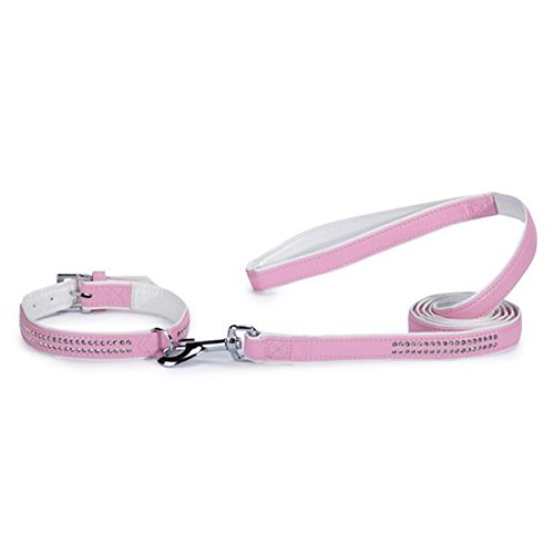 (East Side Collection Sparkle Gemstone Faux Leather Dog Leash, 6-Feet x 1-Inch Lead,)
