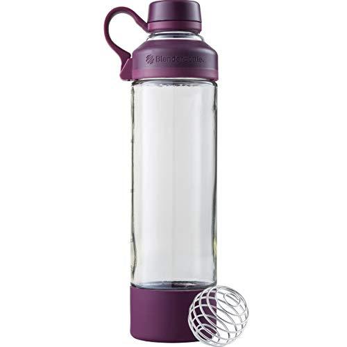 BlenderBottle Mantra Glass Shaker Bottle, 20-Ounce, Plum