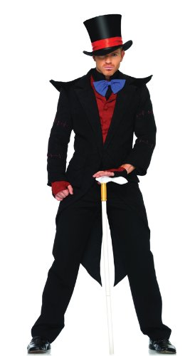 Evil Mad Hatter Costumes (Leg Avenue Men's 6 Piece Evil Mad Hatter Costume, Black/Burgundy, X-Large)