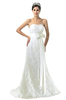 RohmBridal Women's Strapless Sheath Lace Wedding Dress Bridal Gown
