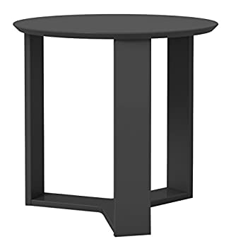 Manhattan Comfort Madison 2.0 End Table Collection Round Living Room End Table Accent Table, 23 L x 23 W x 22 H, Black Gloss
