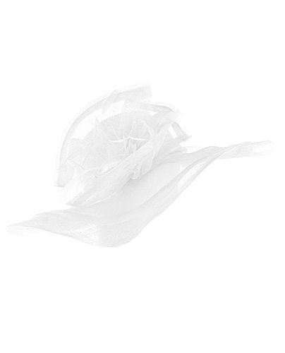 NYfashion101 Kentucky Derby Feather & Enlarged Floral Wide Brim Sinamay Dress Hat (White)