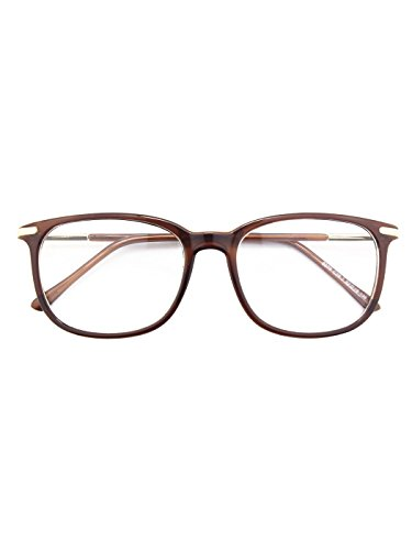 Happy Store CN79 High Fashion Metal Temple Horn Rimmed Clear Lens Eye - Rimmed Brown Glasses
