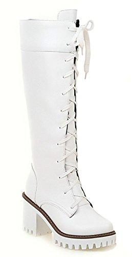 Idifu Scarpe Comode Piattaforma Lace Up Stivali Da Moto Stivali Alti Stivali Da Equitazione Tacchi Bianchi