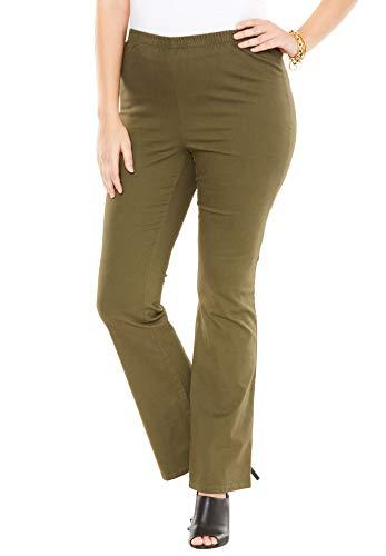 (Roamans Women's Plus Size Bootcut Pull-On Stretch Jean - Dark Olive Green, 26 W)
