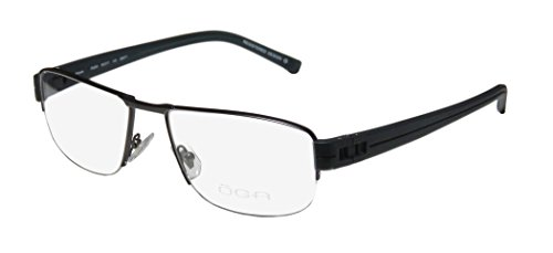 Oga 7925o Mens Designer Half-rim Spring Hinges Eyeglasses/Eyeglass Frame (56-17-140, Black / - For Latest Frames Eyeglasses