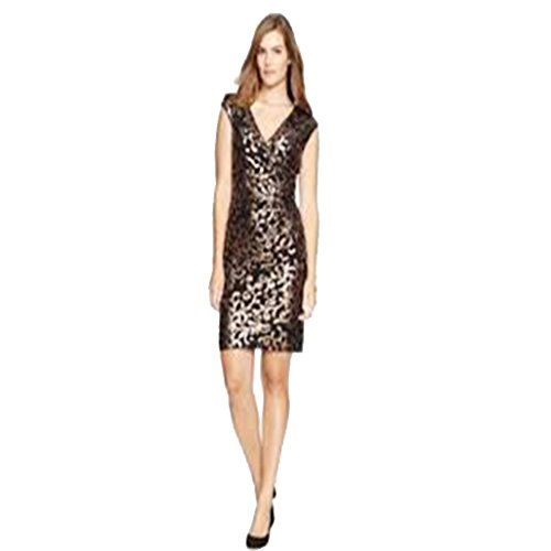 Lauren Ralph Lauren Sequined Metallic Surplice Dress Black 22W (Sequined Surplice)