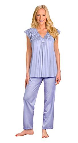 Shadowline Women's Plus-Size Silhouette Short Cap Sleeve Pajama Set, Peri Frost, 3X