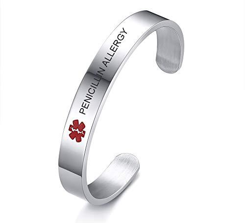 (VNOX Medical Condition Alert ID PENICILLIN Allergy 10MM Stainless Steel Open Cuff Bangle Bracelet for Men Women)