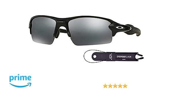aed63669445 Amazon.com  Oakley Flak 2.0 OO9295 929501 59M Matte Black Black Iridium  Sunglasses For Men+BUNDLE with Oakley Accessory Leash Kit  Clothing