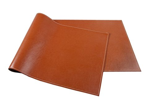 Ninepeak Ultra-Smooth PU Leather Desk Mat, - Executive Blotter and Protective Mat & Protector Mouse Pad for Desktops and Laptops (20'' x 53'', 1/8'' Thick, Brown) by ninepeak